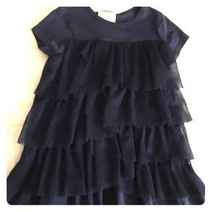 Hanna Andersson navy tulle tiered cotton dress